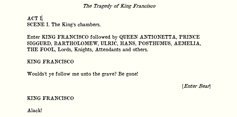 One Act Play – The Tragedy of King Francisco